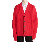 WOOL KNIT CARDIGAN LEATHER PATCHES