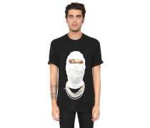 GOLD FACE PRINTED COTTON JERSEY T-SHIRT