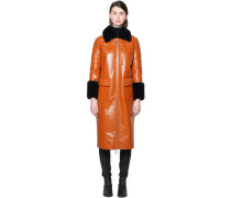 KRISTEN PAPERY FAUX PATENT LEATHER COAT