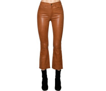 CROPPED STRAIGHT LEG LEATHER PANTS