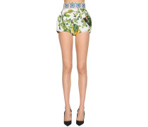 HIGH WAIST PRINTED COTTON POPLIN SHORTS