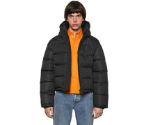 HOODED NYLON CROPPED DOWN JACKET