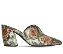 80MM SNAKE PRINT LEATHER MULES