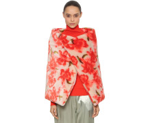 FLORAL PRINTED MOHAIR BLEND WRAP CAPE