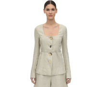 MARTINA LINEN & COTTON TWILL JACKET