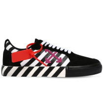 STRIPED LOW-TOP SUEDE & CANVAS SNEAKERS