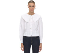 WIDE COLLAR COTTON POPLIN SHIRT