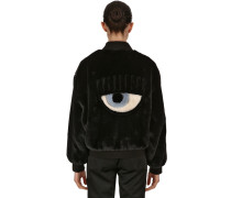 EYE PATCH FAUX FUR BOMBER JACKET