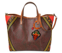 PAISLEY PRINT LEATHER TOTE BAG