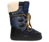 DENIM & FAUX SHEARLING SNOW BOOTS