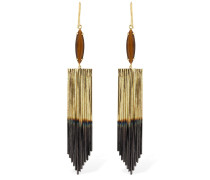 FRINGED MARQUISE TIGER EYE EARRINGS