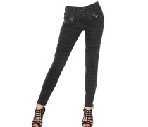 LOGO DENIM STRETCH SKINNY BIKER JEANS