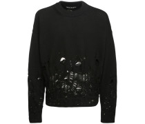 LOGO DESTROYED KNIT WOOL PULLOVER