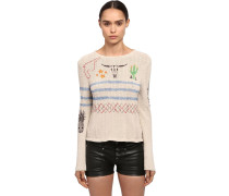 PRINTED CACTUS COTTON KNIT PULLOVER