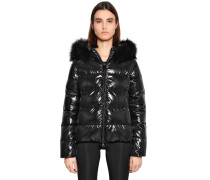 ADHARA SHINY NYLON DOWN JACKET W/ FUR