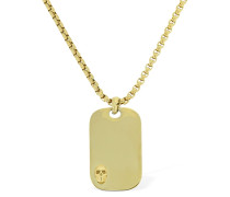 SKULL TAG CHAIN NECKLACE