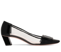 45MM BELLE PATENT LEATHER & PLEXI PUMPS