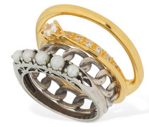 SET OF 4 RINGS W/ PEARLS & CRYSTALS