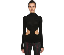 CUT OUT RIBBED COTTON JERSEY T-SHIRT