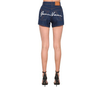 BACK SIGNATURE LOGO COTTON DENIM SHORTS