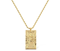 ROSE ENGRAVED PENDENT CHAIN NECKLACE