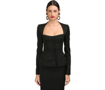 STRETCH FAILLE BUTTONED CORSET JACKET