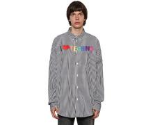 I LOVE TECHNO STRIPE COTTON POPLIN SHIRT