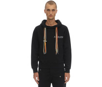 PRINTED COTTON JERSEY MULTI CORD HOODIE