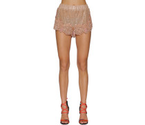EMBROIDERED SILK & LACE SHORTS