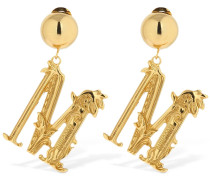 'M' MOSCHINO ENGRAVED CLIP-ON EARRINGS
