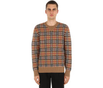 CHECKED CASHMERE KNIT PULLOVER