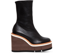 110MM BRITT STRETCH LEATHER WEDGED BOOTS