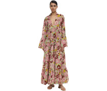 ANNY FLORAL PRINTED COTTON MAXI DRESS