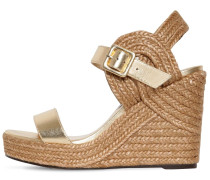 DELPHI METALLIC LEATHER ESPADRILLE WEDGE