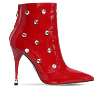 105MM EMBELLISHED PATENT LEATHER BOOTS