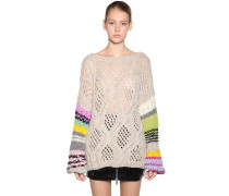 OPEN BACK STRIPED WOOL BLEND PULLOVER