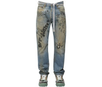 PRINTED RELAXED COTTON DENIM JEANS