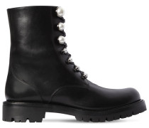 25MM PEARLS LEATHER BIKER BOOTS