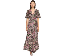 FLORAL PRINT SILK GEORGETTE LONG DRESS