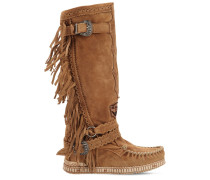 70MM JUSTINE FRINGED SUEDE BOOTS