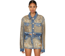 SEQUINED COTTON DENIM JACKET