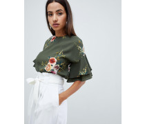 floral top with frill sleeve