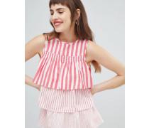 Ärmellose gestreifte Bluse mit abgestuftem Design