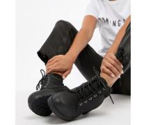 Flache Biker-Ankle-Boot mit Schnürung