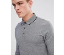 Langärmliges Polohemd mit gestreiftem Kragen
