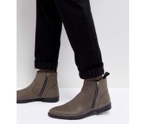 Chelsea-Stiefel aus grauem Leder mit Sohle in Distressed-Optik