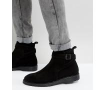 Chelsea-Stiefel aus schwarzem Leder mit Riemendesign weite Passform
