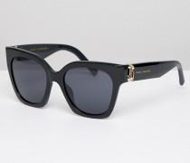 182/S - Eckige Sonnenbrille in Schwarz