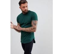 Lang geschnittenes dunkelgrünes T-Shirt