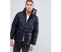 Wattierte Jacke mit Kapuze in Schwarz